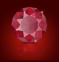 ruby on red background with reflection vector image