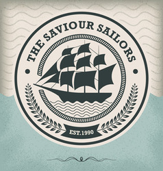 sailing ship vintage nautical emblem vector image