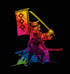 samurai warrior with weapons group ronin vector image