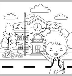 School building and girl cartoon design vector