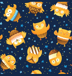Seamless pattern with cartoon owls in the vector