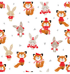 seamless pattern with cute bunny and fox in scarf vector image