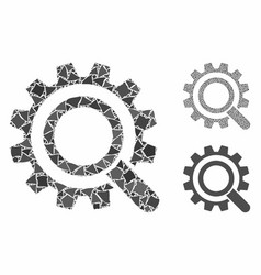 Search options gear mosaic icon bumpy parts vector