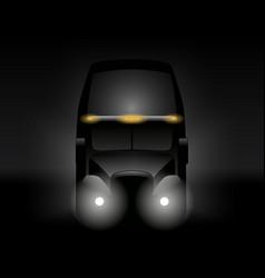 Semi truck front view dark silhouette vector