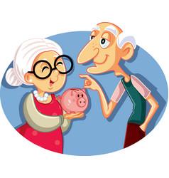 senior couple saving for retirement vector image
