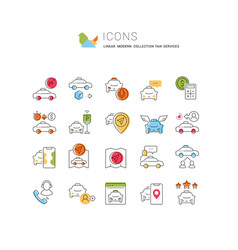 Set linear icons taxi services vector