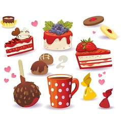 Set of cakes and other sweet food vector
