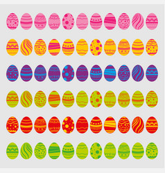 Set of easter eggs isolated on white background vector