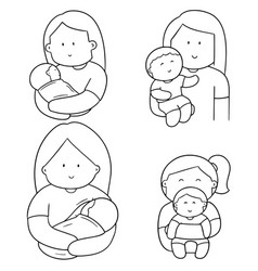 set of mother and children vector image
