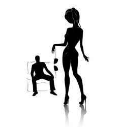 silhouette young beautiful women in private dan vector image