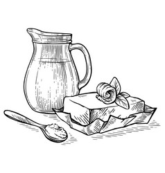 sketch hand drawn jug with milk and butter vector image