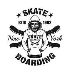 skull in hoodie and two skate decks emblem vector image