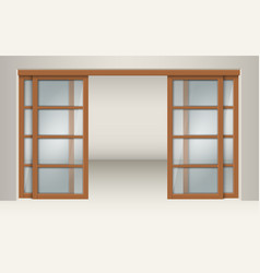 Sliding glass doors with wooden lintels vector