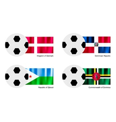 Soccer Ball with Denmark Dominican Djibouti Flag vector image