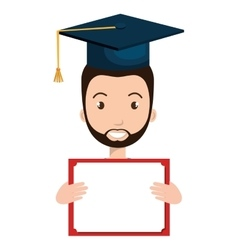 Student character with hat graduation and diploma vector