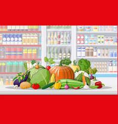 supermarket store interior with vegetables vector image