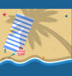 Top view of exotic empty sandy beach background vector