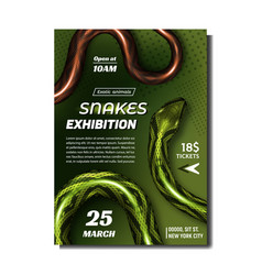 Tropical snakes exhibition advertise banner vector