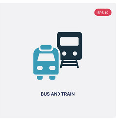 two color bus and train icon from transport vector image