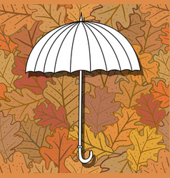 Umbrella on background with oak leaves vector