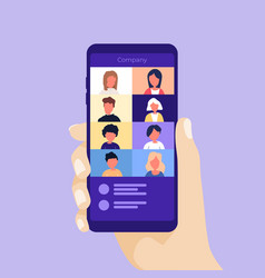 Video conference on a mobile phone vector