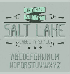vintage label font named salt lake vector image