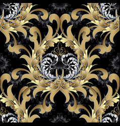 Vintage royal seamless pattern gold baroque vector