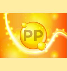 vitamin pp gold shining pill capsule icon vector image