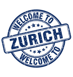 Welcome to zurich blue round vintage stamp vector