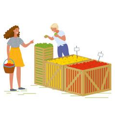 Woman buying fresh apples at market fair shop vector
