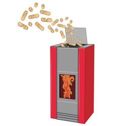 wood pellett stove with pellett isolated on white vector image