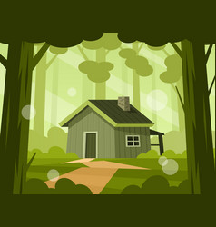 Wooden cabin in forest vector