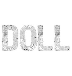 Word doll for coloring decorative vector
