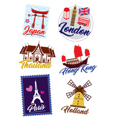 world country sticker vector image