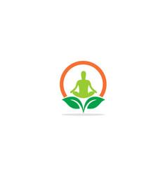 yoga eco leaf logo vector image