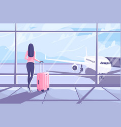 young woman with a suitcase is standing in the vector image