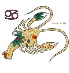 Cancer zodiac sign retro vector image vector image