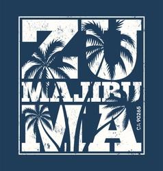 malibu zuma beach tee print with palm trees vector image vector image