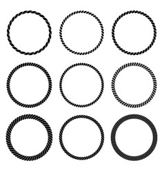 set of round black monochrome rope frame vector image vector image