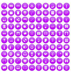 100 leisure icons set purple vector image vector image