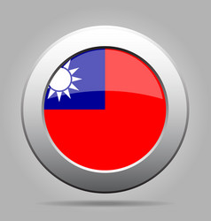 flag of taiwan shiny metal gray round button vector image vector image