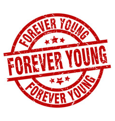 forever young round red grunge stamp vector image vector image