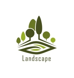 Park landscape icon with alleys and lawn vector image
