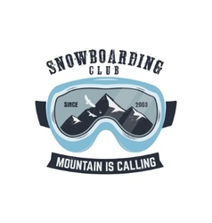 Snowboarding goggles logo and label template vector image vector image