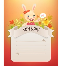 Happy Easter Bunny Girl Greeting Card vector image