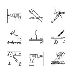 Home repair line icons vector image vector image