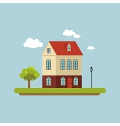 House facade Part of the urban landscape Tree vector image vector image