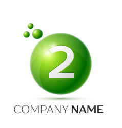 Number two splash green dots and bubbles number vector