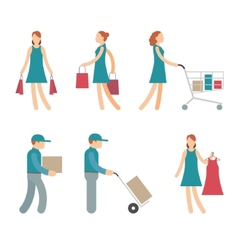 Shopping Characters and employees of delivery on vector image vector image