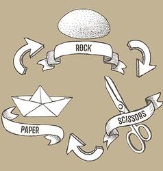 Sketch rock scissors paper poster vector image vector image
